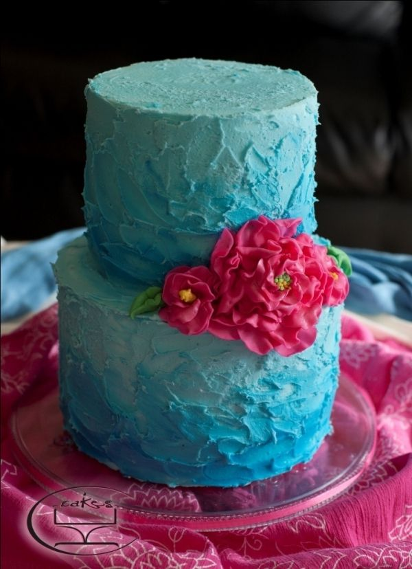 Turquoise and hot pink cake