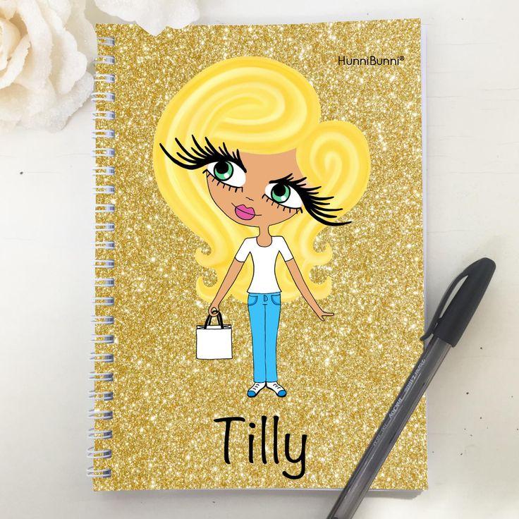HunniBunni Little Miss Gold Glitter Personalised A5 2016 Diary