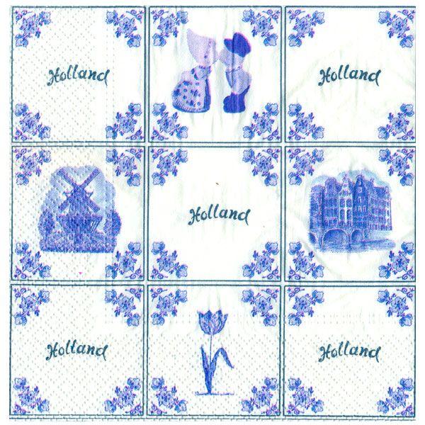 SERVETTEN DELFTS BLAUW TEGELS HOLLAND 33 x 33 CM - Servetten en Onderzetters - Holland Souvenir Shop