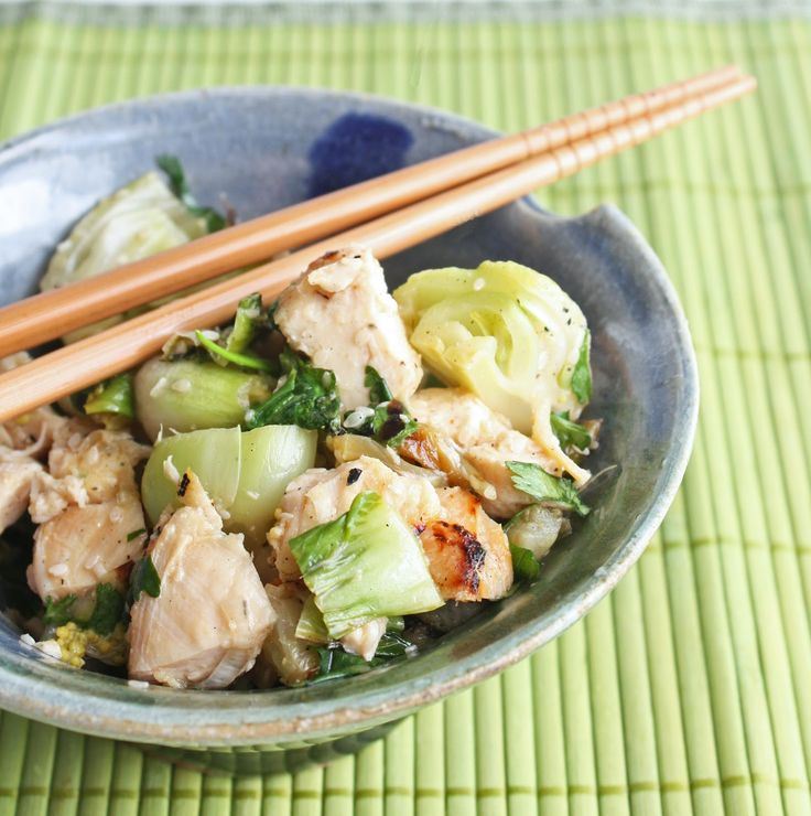 Grilled Chicken & Baby Bok Choy Salad: Low Carb, Chicken Salad, Salad Recipes, Baby Bok, Bok Choy, Grilled Chicken, Gluten Free, Healthy Food, Choy Salad