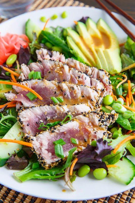 Sesame Crusted Seared Ahi Tuna 'Sushi' Salad with Wasabi Vinaigrette