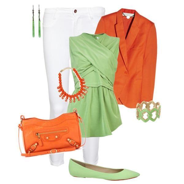 Оранжевый пиджак и зелёные джинсы