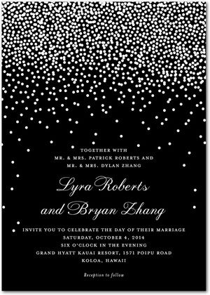 Signature White Wedding Invitations Diamond Sky - Front : Black  @Laura Jayson K   in the blue color
