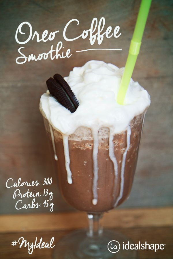 Oreo Coffee Smoothie (keeps you cool and keeps you full!) 1 cup of Almond Breeze Iced Coffee, 1 scoop of chocolate or vanilla IdealShake mix, 2 sugar free Oreos, add ice and blend. #idealshape #coffee #protein #smoothie