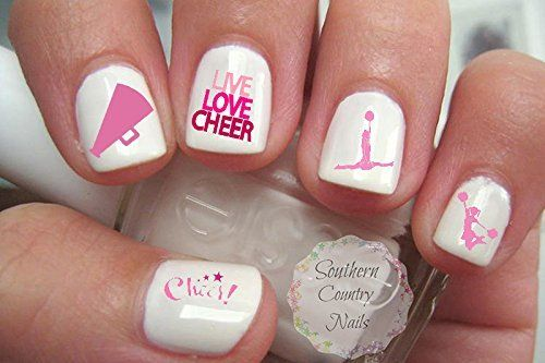 40 Pink Child Size Cheer Cheerleading Nail Art Designs Decals *** Want to know more, click on the image.