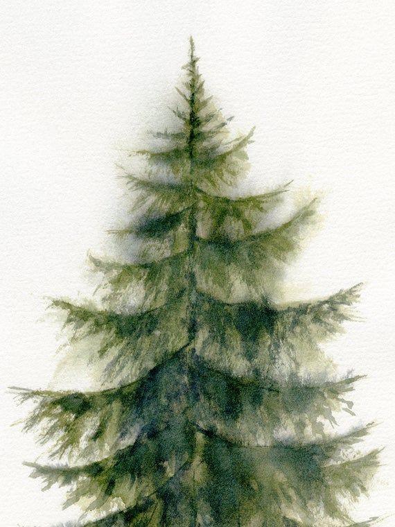 Evergreen Tree Printable Wall Art Scandinavian Pine Tree Etsy Tree Watercolor Painting Printable Wall Art Watercolor Art Prints