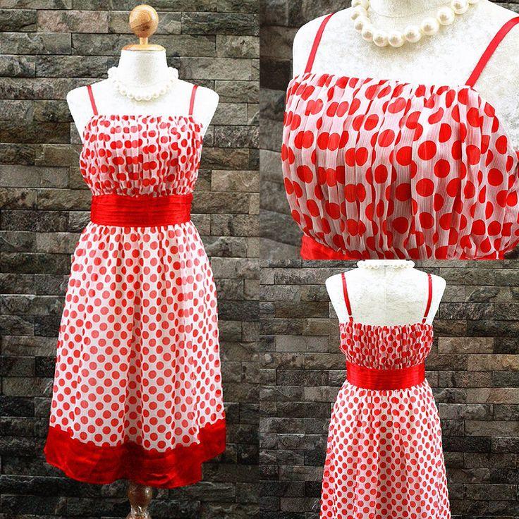 LS087 : M เดรสเกาหลี ชีฟองสีขาว สายเดี่ยว ลายจุด+ขอบสีแดง โพกาดอท ซิปข้าง Brand: OAT'S style  www.ladyseoulshop.com
