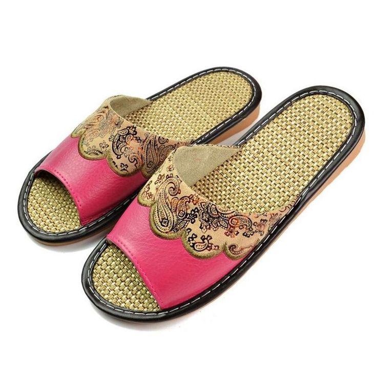 Women Summer Slippers Sandals Genuine Leather Cowhide Rubber Home Indoor Garden #Unbranded #Indoor