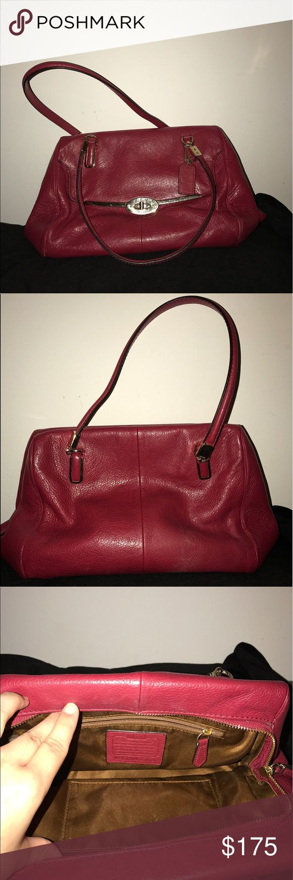 Red Coach Madison Madeline Small Satchel Beautiful Coach Madison Madeline Satchel in cherry red with gold hardware. Lovely brown satin interior. Does not come with long strap. Two shoulder straps are suitable length for forearm or shoulder carrying. Bag is well loved but in wonderful condition - no stains, no imperfections in leather. Comes with white Coach dust bag (which has a small stain, pictured). Must go to a good home! I will miss this bag! Coach Bags Satchels