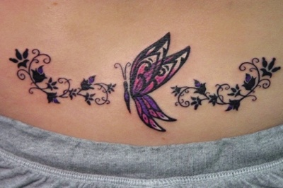 Butterfly on a vine tattoo