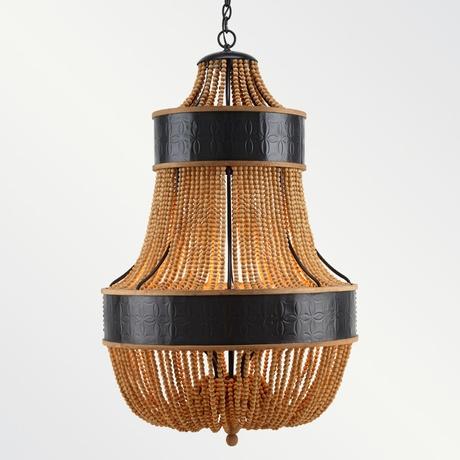 'Catalonia' chandelier in bronze & natural Cerused Oak.