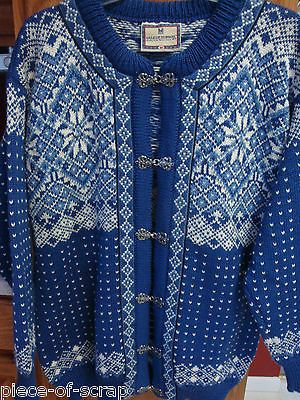 DALE OF NORWAY Womans Sweater MEDIUM M Wool Cardigan Norwegian Classic BLUE
