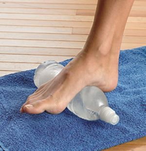Sore feet relief! If you have plantar fasciitis or tired, achy feet, fill a plastic water bottle 3/4 of the way with water, freeze it and use it frozen after a workout or long day to roll the bottoms of your feet to reduce inflammation.
