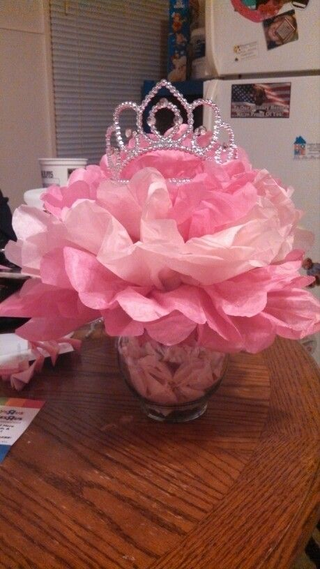 princess themed centerpieces for our baby shower tutu and tiara