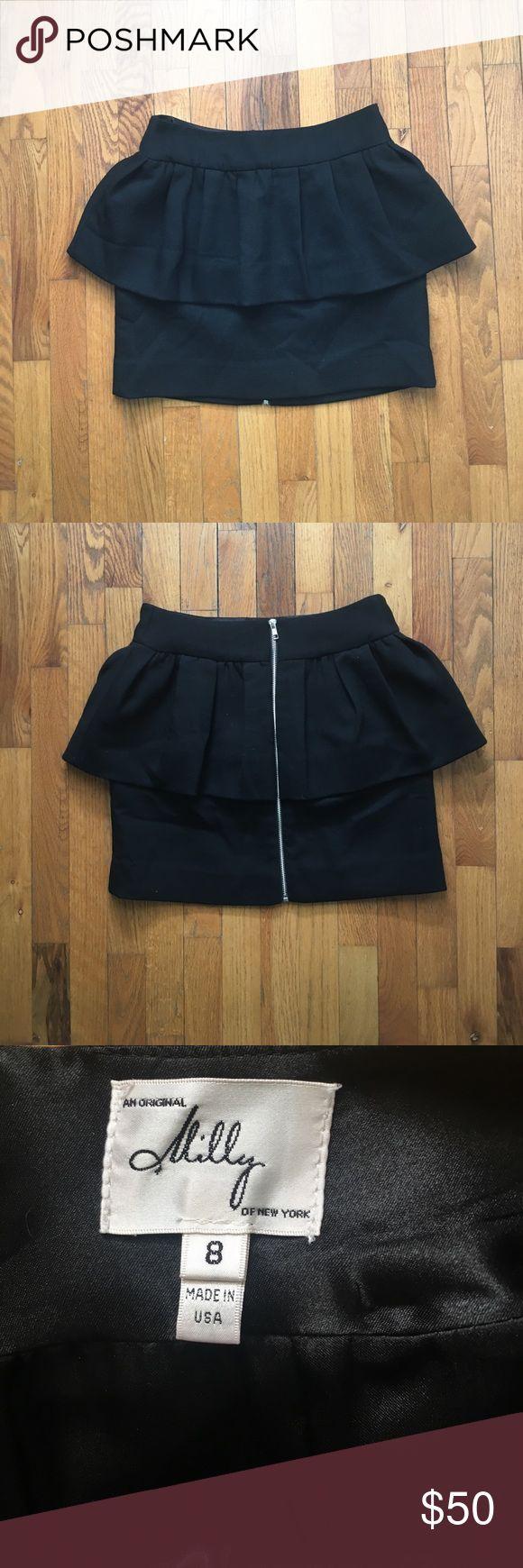 Black Peplum Milly Skirt **NEVER WORN** - Black peplum skirt - Size 8 - Made in USA Milly Skirts Mini