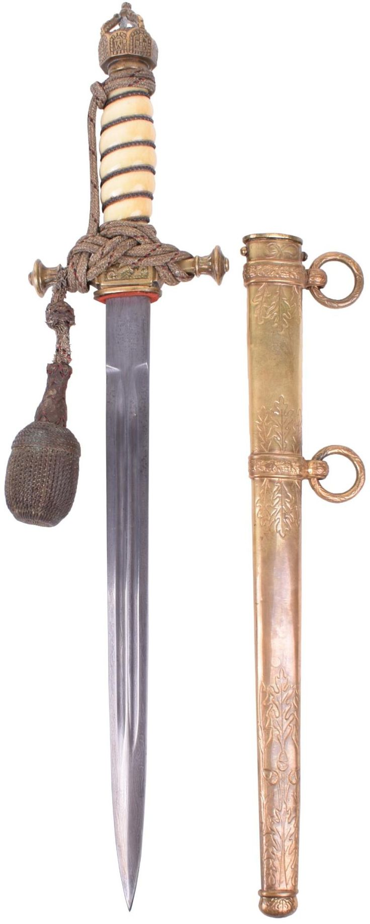 MPERIAL GERMAN NAVAL OFFICERS DRESS DAGGER WITH DELUXE DAMASCUS BLADE