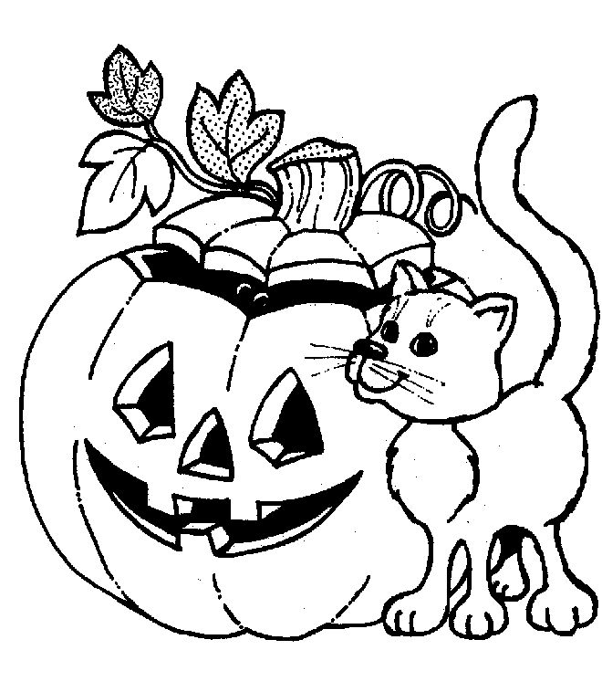 Halloween pumpkin and cat coloring page halloween for Coloring pages com halloween