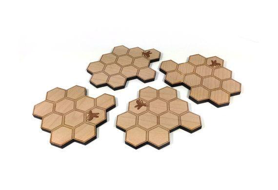 Nid d'abeille hexagone sous-verres & dessous de plat / par MileNine