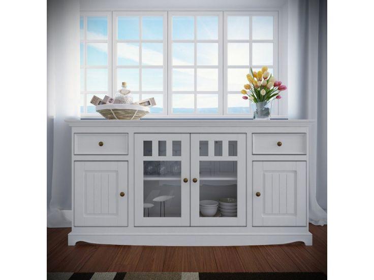 Belluno Elegante, 4-dverová drevená komoda z masívu, biela