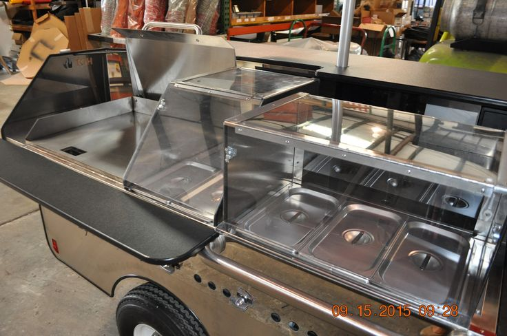 "TopDogCarts.com - TD 24 cart with 24"" flat top griddle, two full size steam tables with sneeze guards"