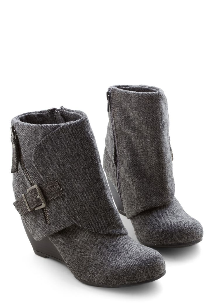 Follow the Fashionista Boot in Herringbone. Considering youre rocking the accent zipper, ornamental buckle, and faux-stacked wedge on this Blowfish bootie, you must be going somewhere posh! #grey #modcloth