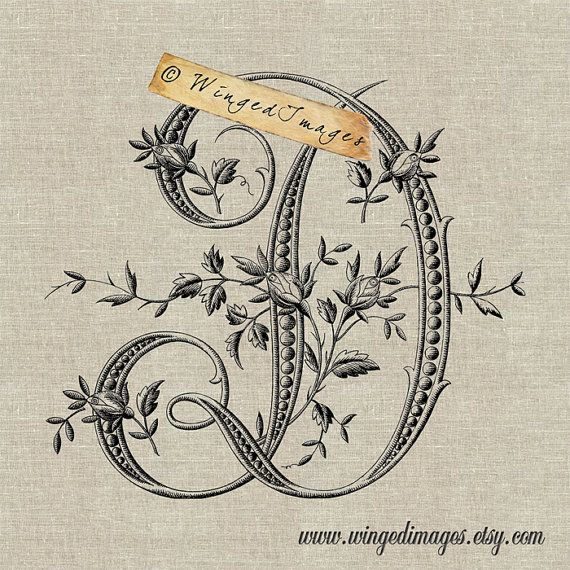 Antique French Monogram Letter D Instant Download by WingedImages, $1.00