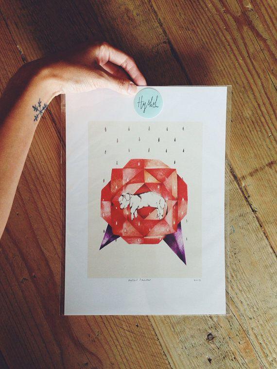 Puppy hondje in een origami roos A4 geïllustreerde print // Pink RIbbon Foundation print