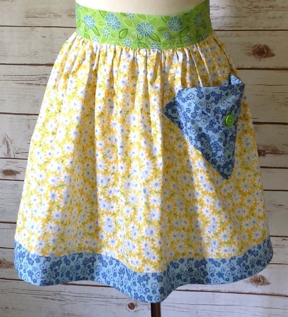 Yellow Half Apron Country Apron With Pocket Cute Kitchen