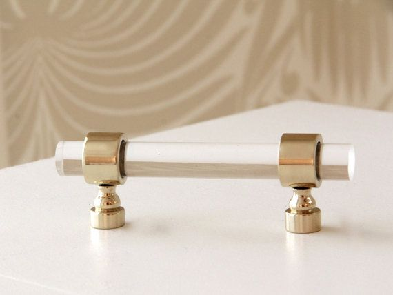 Marvelous Polished Or Satin Brass Drawer Pulls   Lucite Cabinet Handles