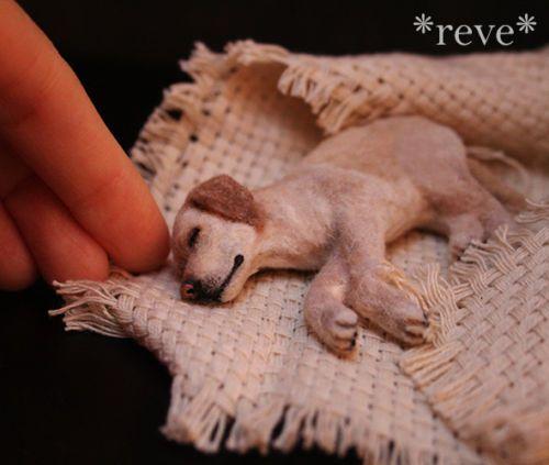 OOAK Miniature Labrador Retriever Dog Handmade 1 12 Sculpture by Reve