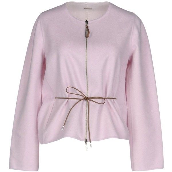 Fabiana Filippi Blazer ($1,420) ❤ liked on Polyvore featuring outerwear, jackets, blazers, light pink, long sleeve jacket, zipper blazer, zip jacket, blazer jacket and pink blazer