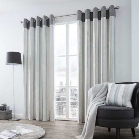 Rydell Stripe Ready Made Lined Eyelet Curtains - Teal