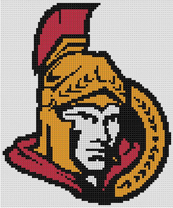 Counted Cross Stitch Pattern, Ottawa Senators NHL Logo, Instant Download, PDF Pattern, Hand Designed by Dueamici