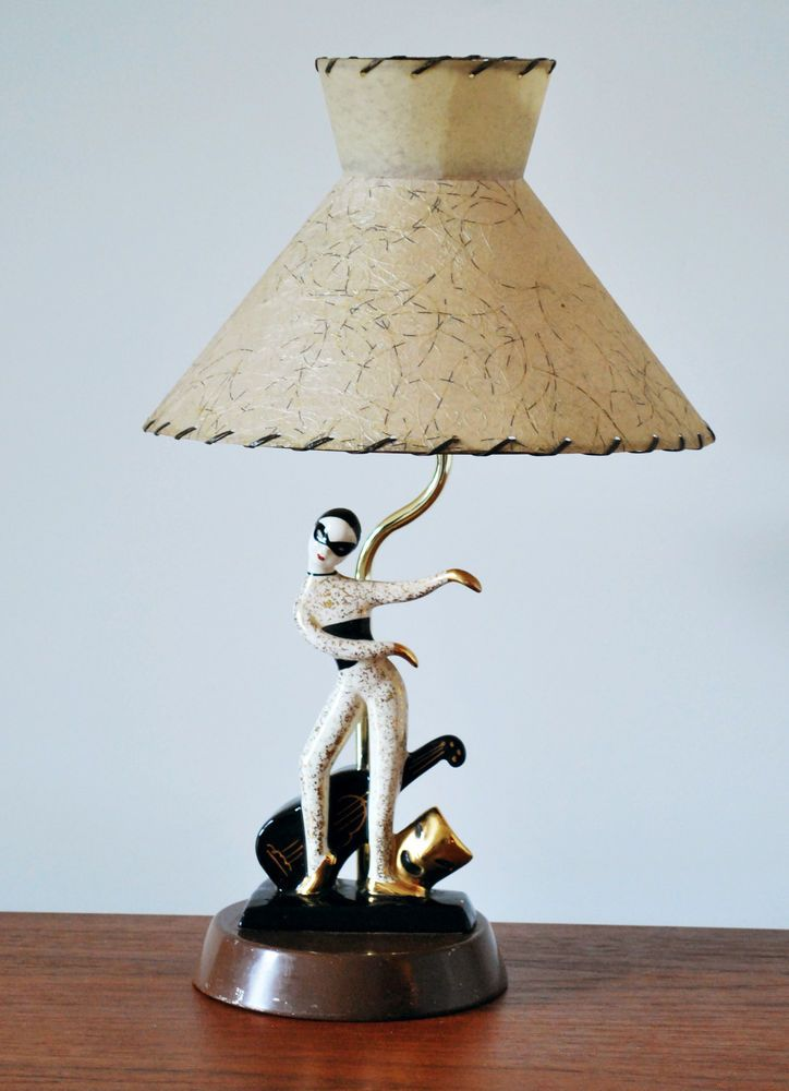 Mid century 50 39 s harlequin comedy mask table lamp hedi for Table lamps under 50