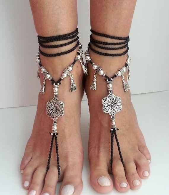 Bridal Shoes Boho: Flower Barefoot Sandals Boho Wedding Shoes Belly Dance