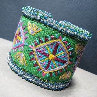 Bright Geometry Embroidered Cuff | Starting with a base of b… | Flickr