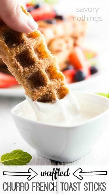 Don't worry about flipping French toast all breakfast long - this waffled churro french toast stick recipe gets easily done in the waffle iron! They're so yummy with all the cinnamon sugar!