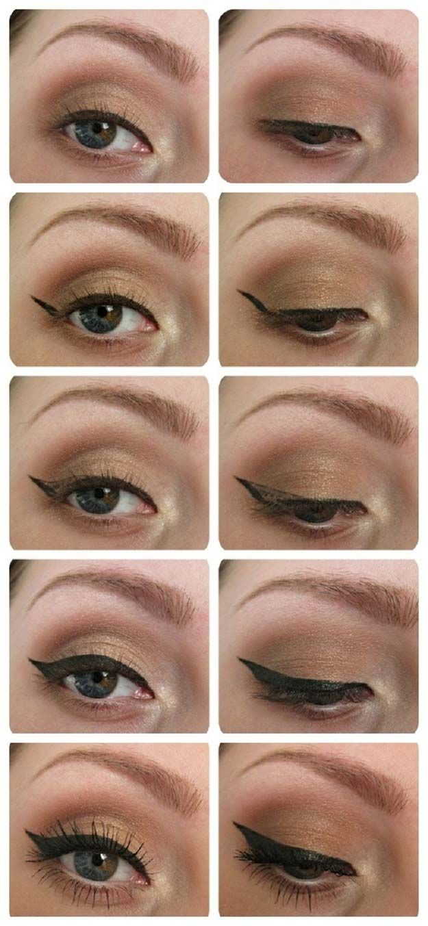 Winged Eyeliner Tutorials - Eyeliner Tutorial- Easy Step By Step Tutorials For Beginners and Hacks Using Tape and a Spoon, Liquid Liner, Thing Pencil Tricks and Awesome Guides for Hooded Eyes - Short Video Tutorial for Perfect Simple Dramatic Looks - thegoddess.com/winged-eyeliner-tutorials
