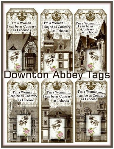 +downton abbey printables | Downton Abbey Tags Vintage Printables Digital Download ...
