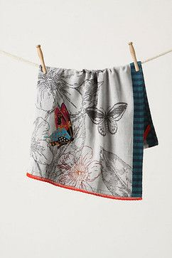 Engraved Butterfly Dishtowel - contemporary - dishtowels - Anthropologie