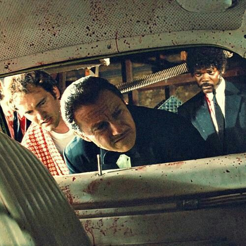 Samuel L. Jackson, Harvey Keitel, and Quentin Tarantino in Pulp Fiction (1994)