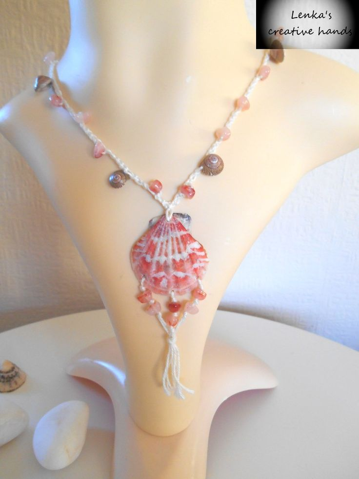Boho real shell pendant necklace-NEW, Crochet salmon pink beaded necklace, Chic beach jewellery, Handcrafted jewellery, Gift for her by Lenkascreativehands on Etsy