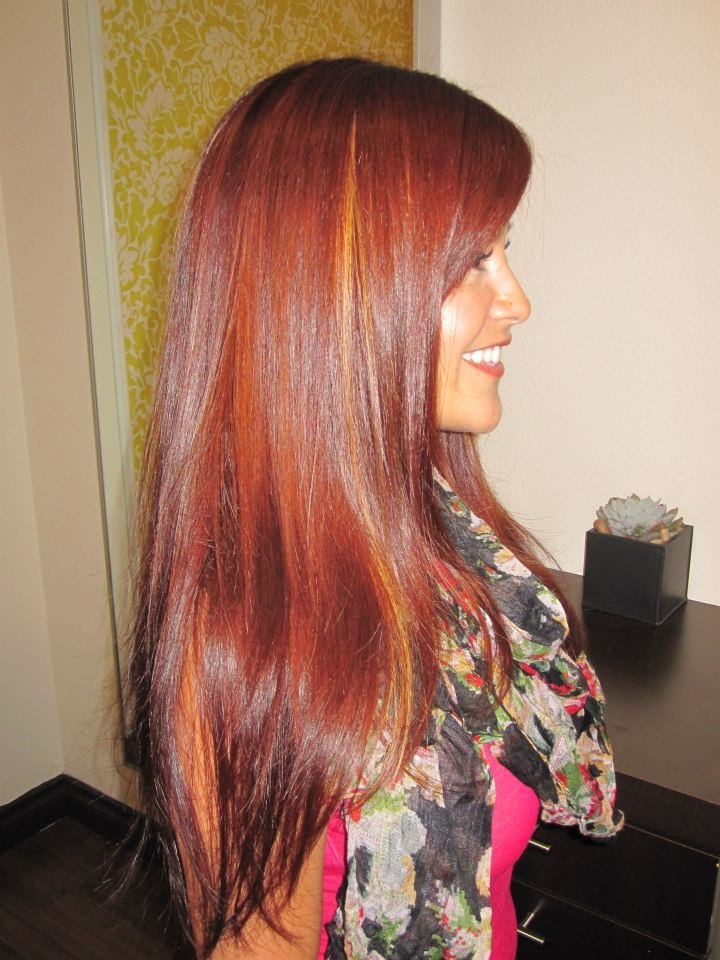 Beautiful Red With Peek A Boo Highlights Davines Mask