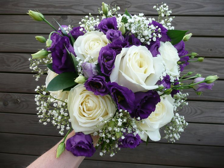 Large White Rose, Purple Lisianthus, Gypsophila And Ruscus