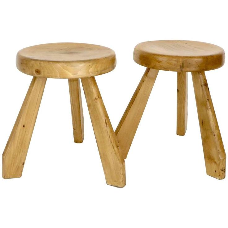 Pair of Sandoz Stools for Les Arcs Ski Resort Charlotte Perriand, France 1