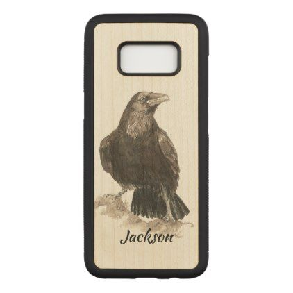 Watercolor Raven Bird Nature Art Custom Name Carved Samsung Galaxy S8 Case - custom diy cyo personalize gift idea