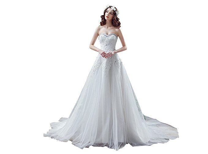 PuTao Women's Bridal Gowns Sweetheart Ankle Length Lace Beach Bridal Wedding Dresses US 06