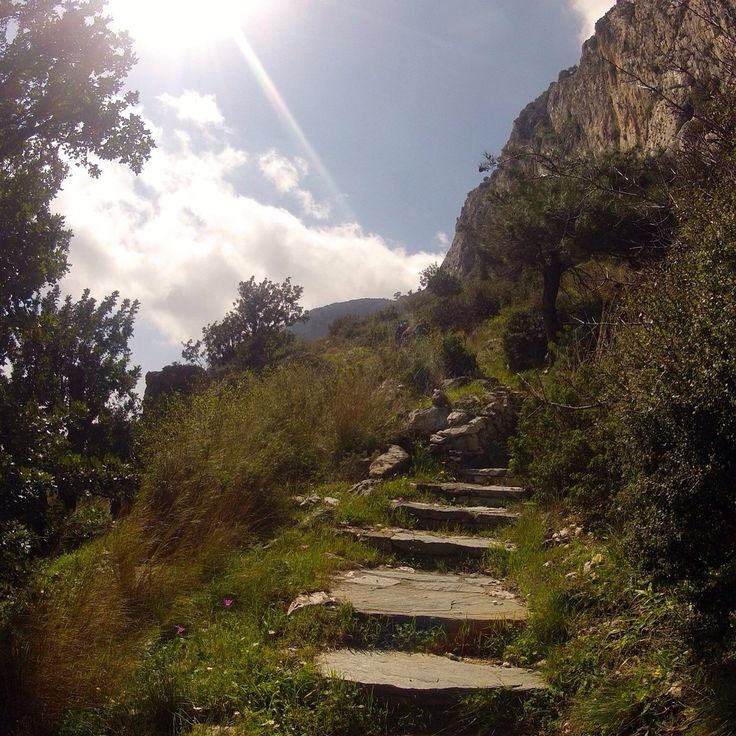Stairs to Pythagoras cave. Amazing hike here on Samos island...