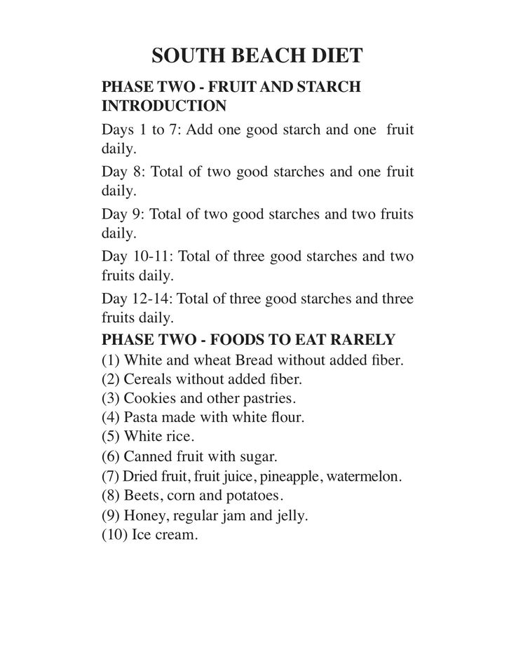 "South Beach Diet - Phase 2 (continued).  Diet reviewed by Richard A. Price, author of ""How I Lost 80 Pounds with Smart Carb Eating"" and ""Glycemic Matrix Guide to Low GI and GL Eating""."