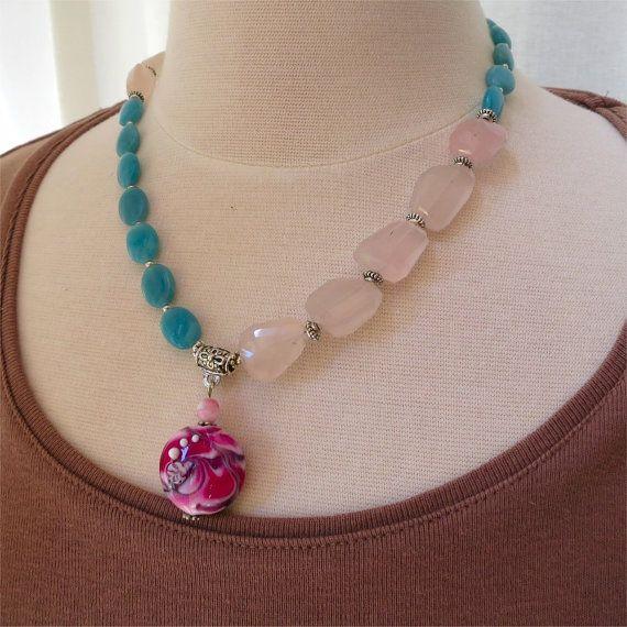 Rose quartz amazonite and lampwork bead by planettreasures on Etsy